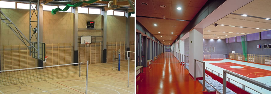 Acoustic panels in a sports hall