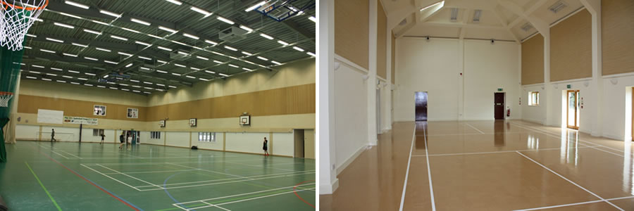 Woodsorba acoustic panels for a sports hall